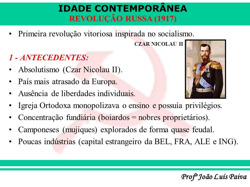 IDADE CONTEMPORÂNEA Profº João Luís Paiva REVOLUÇÃO RUSSA (1917) Primeira revolução vitoriosa inspirada no socialismo. 1 - ANTECEDENTES: Absolutismo (