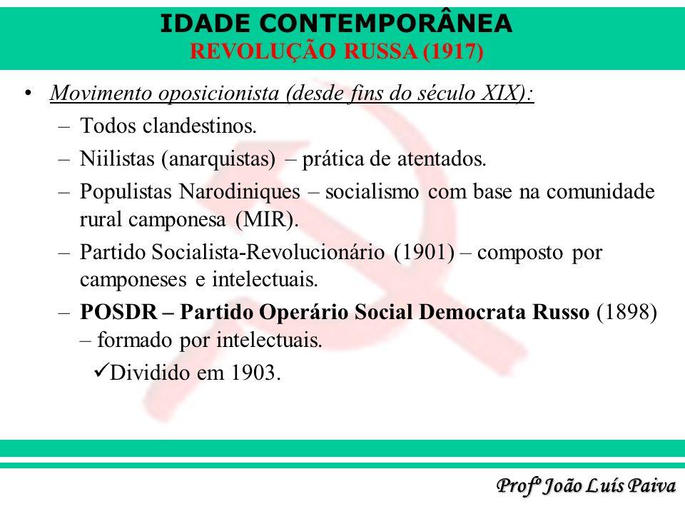 IDADE CONTEMPORÂNEA Profº João Luís Paiva REVOLUÇÃO RUSSA (1917) Movimento oposicionista (desde fins do século XIX): –Todos clandestinos. –Niilistas (