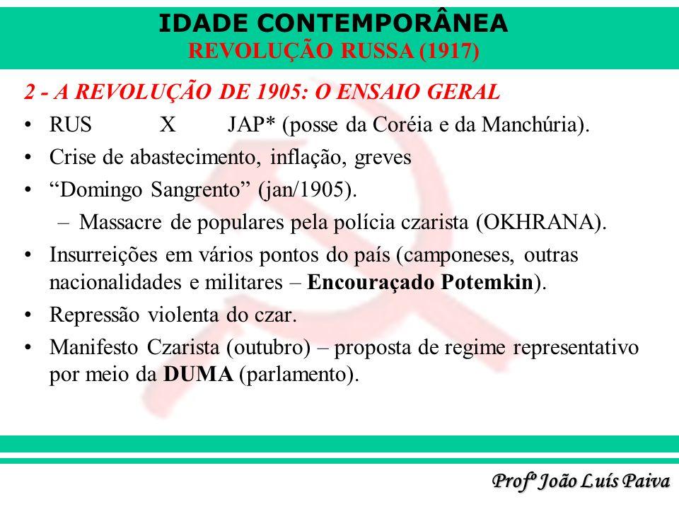 IDADE CONTEMPORÂNEA Profº João Luís Paiva REVOLUÇÃO RUSSA (1917) 2 - A REVOLUÇÃO DE 1905: O ENSAIO GERAL RUSXJAP* (posse da Coréia e da Manchúria). Cr