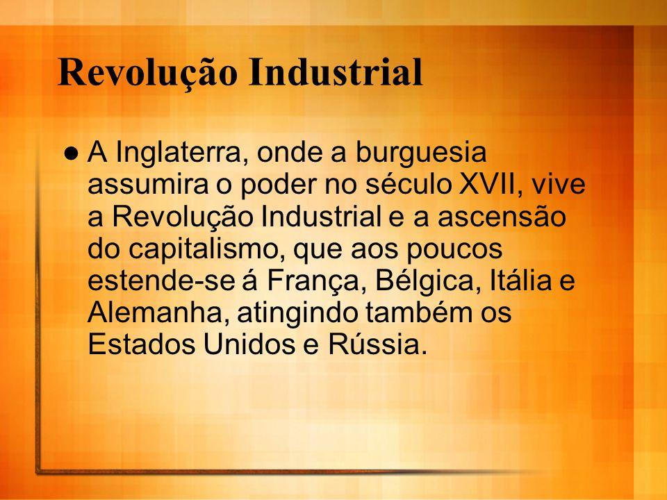 Revolução Industrial A Inglaterra, onde a burguesia assumira o poder no século XVII, vive a Revolução Industrial e a ascensão do capitalismo, que aos