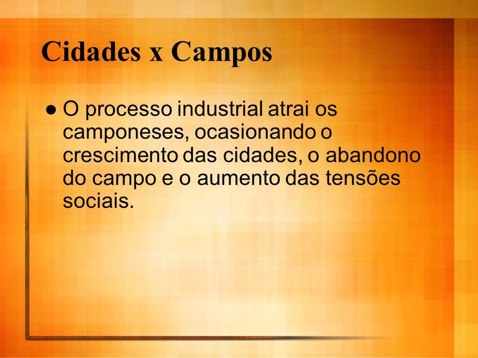 Cidades x Campos O processo industrial atrai os camponeses, ocasionando o crescimento das cidades, o abandono do campo e o aumento das tensões sociais