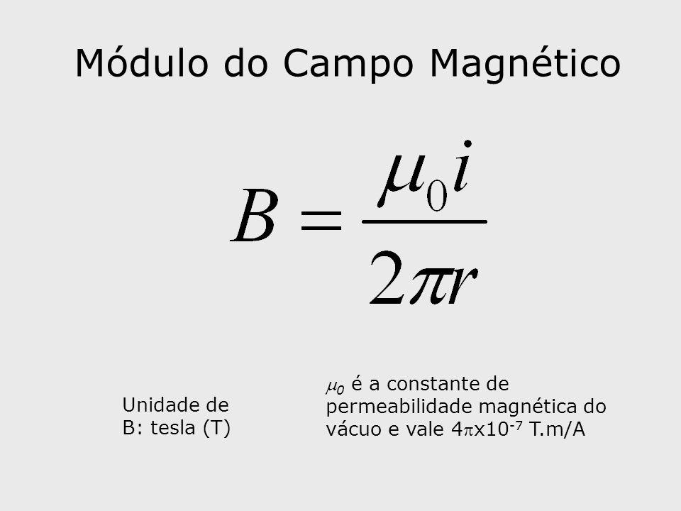 Módulo do Campo Magnético 0 é a constante de permeabilidade magnética do vácuo e vale 4x10 -7 T.m/A Unidade de B: tesla (T)