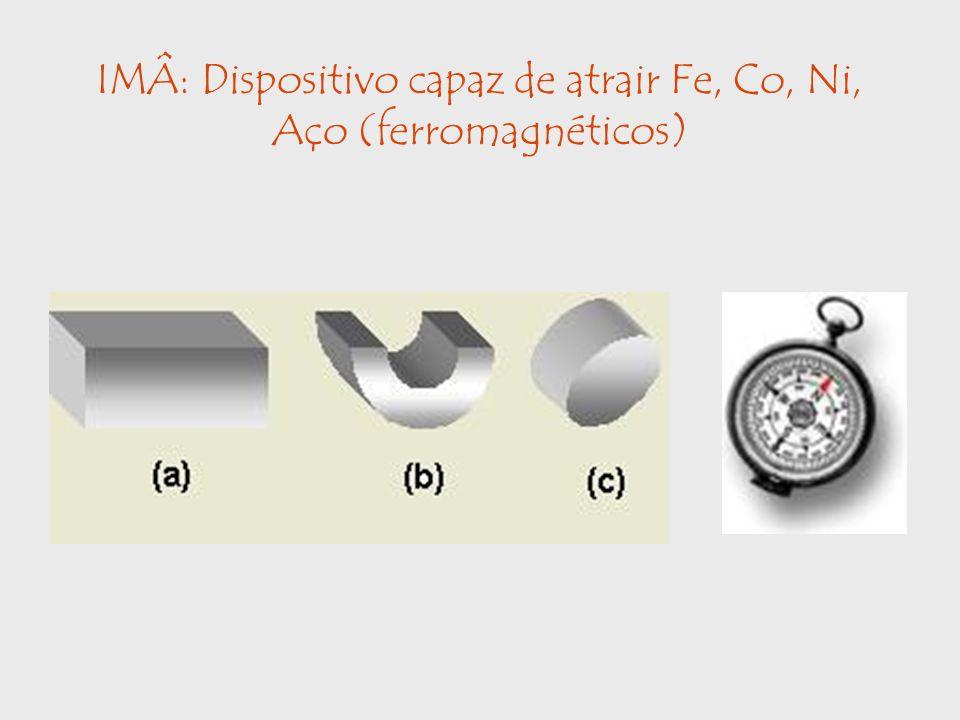 IMÂ: Dispositivo capaz de atrair Fe, Co, Ni, Aço (ferromagnéticos)