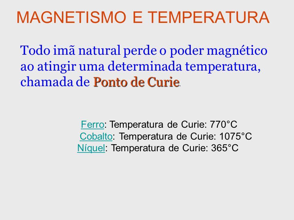 MAGNETISMO E TEMPERATURA Ponto de Curie Todo imã natural perde o poder magnético ao atingir uma determinada temperatura, chamada de Ponto de Curie. Fe