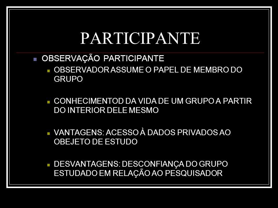 PARTICIPANTE OBSERVAÇÃO PARTICIPANTE OBSERVADOR ASSUME O PAPEL DE MEMBRO DO GRUPO CONHECIMENTOD DA VIDA DE UM GRUPO A PARTIR DO INTERIOR DELE MESMO VANTAGENS: ACESSO À DADOS PRIVADOS AO OBEJETO DE ESTUDO DESVANTAGENS: DESCONFIANÇA DO GRUPO ESTUDADO EM RELAÇÃO AO PESQUISADOR