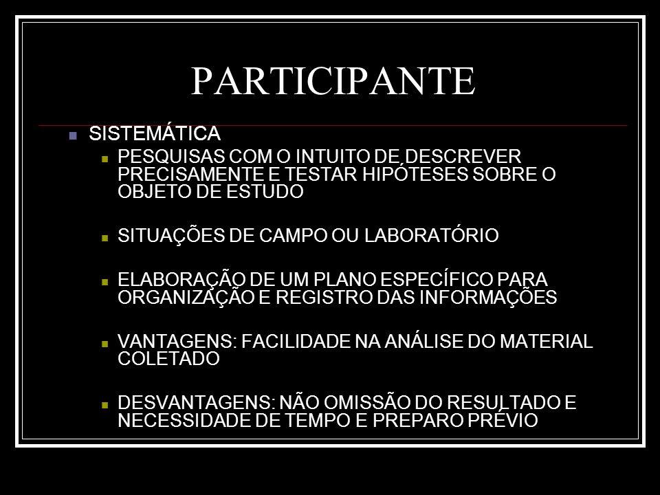 PARTICIPANTE SISTEMÁTICA PESQUISAS COM O INTUITO DE DESCREVER PRECISAMENTE E TESTAR HIPÓTESES SOBRE O OBJETO DE ESTUDO SITUAÇÕES DE CAMPO OU LABORATÓRIO ELABORAÇÃO DE UM PLANO ESPECÍFICO PARA ORGANIZAÇÃO E REGISTRO DAS INFORMAÇÕES VANTAGENS: FACILIDADE NA ANÁLISE DO MATERIAL COLETADO DESVANTAGENS: NÃO OMISSÃO DO RESULTADO E NECESSIDADE DE TEMPO E PREPARO PRÉVIO