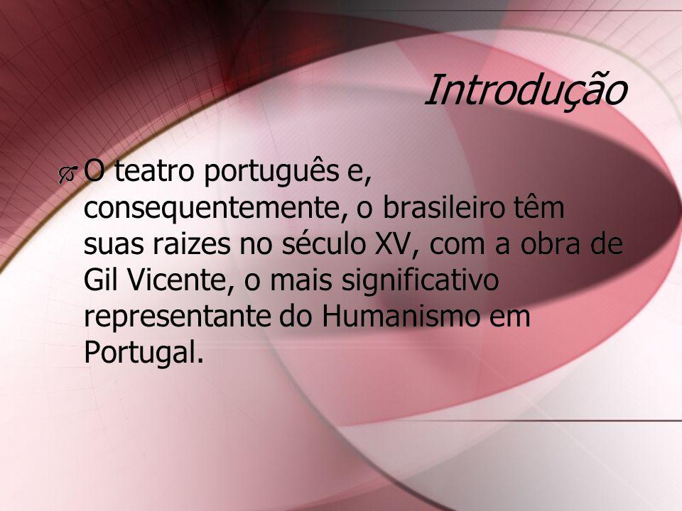 Introdução O teatro português e, consequentemente, o brasileiro têm suas raizes no século XV, com a obra de Gil Vicente, o mais significativo represen