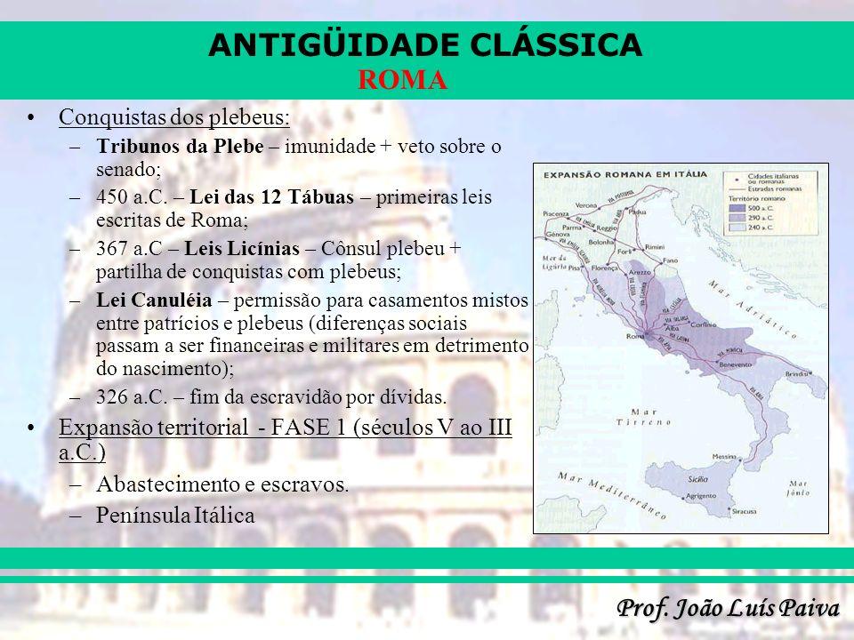 ANTIGÜIDADE CLÁSSICA Prof. João Luís Paiva ROMA Conquistas dos plebeus: –Tribunos da Plebe – imunidade + veto sobre o senado; –450 a.C. – Lei das 12 T