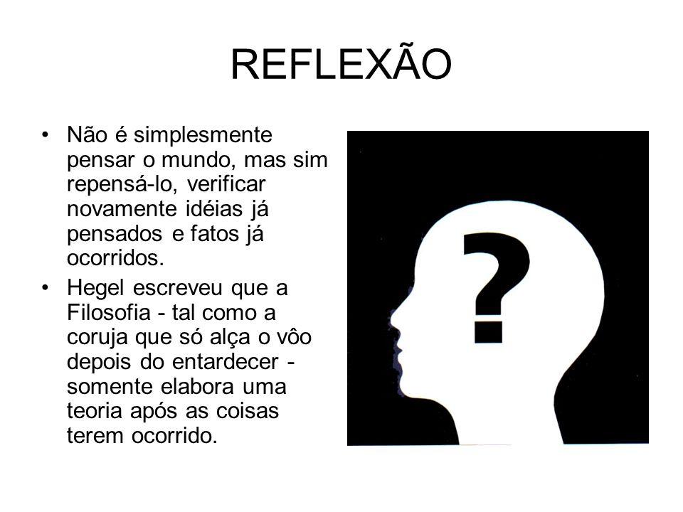 REFLEXÃO Não é simplesmente pensar o mundo, mas sim repensá-lo, verificar novamente idéias já pensados e fatos já ocorridos. Hegel escreveu que a Filo