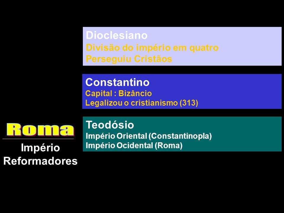 Império Reformadores Dioclesiano Divisão do império em quatro Perseguiu Cristãos Constantino Capital : Bizâncio Legalizou o cristianismo (313) Teodósi