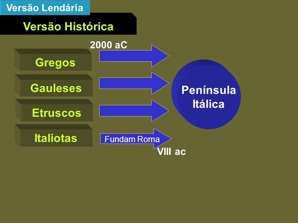 Versão Histórica Versão Lendária Gregos Gauleses Etruscos Italiotas Península Itálica 2000 aC Fundam Roma VIII ac