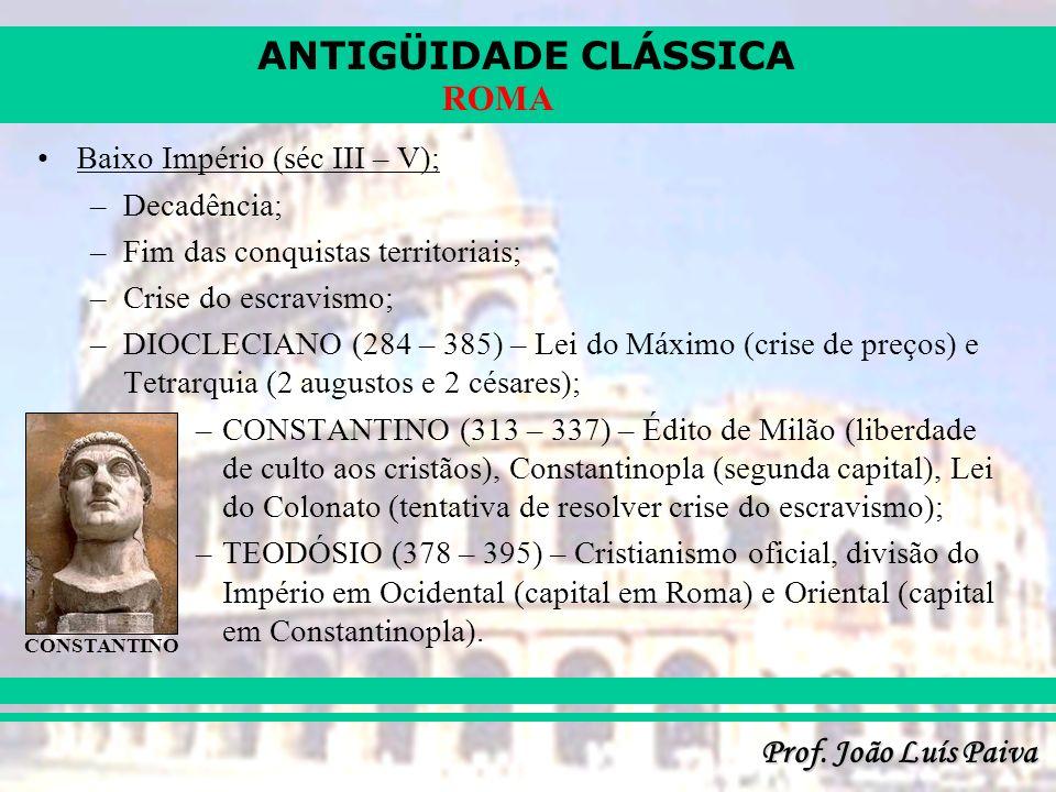ANTIGÜIDADE CLÁSSICA Prof. João Luís Paiva ROMA
