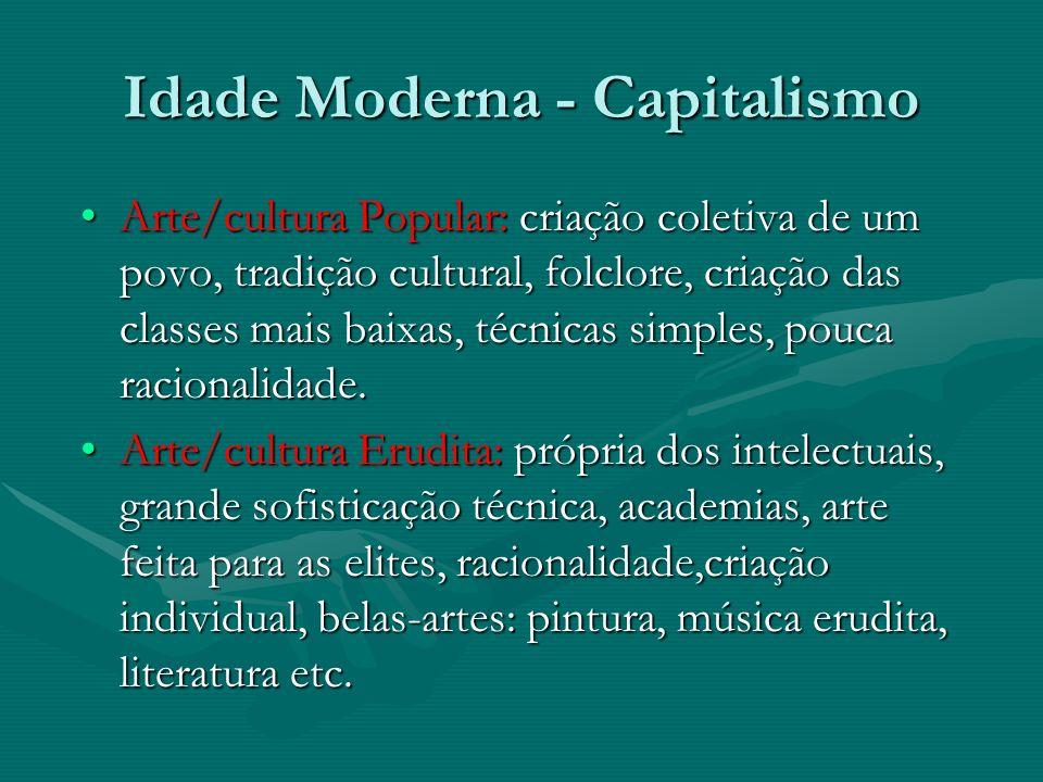 Idade Moderna - Capitalismo Arte/cultura Popular: criação coletiva de um povo, tradição cultural, folclore, criação das classes mais baixas, técnicas