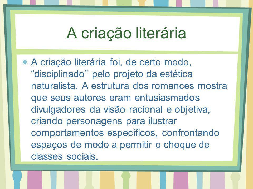 A criação literária A criação literária foi, de certo modo, disciplinado pelo projeto da estética naturalista. A estrutura dos romances mostra que seu