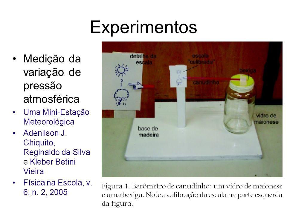 Experimentos Medição da variação de pressão atmosférica Uma Mini-Estação Meteorológica Adenilson J. Chiquito, Reginaldo da Silva e Kleber Betini Vieir