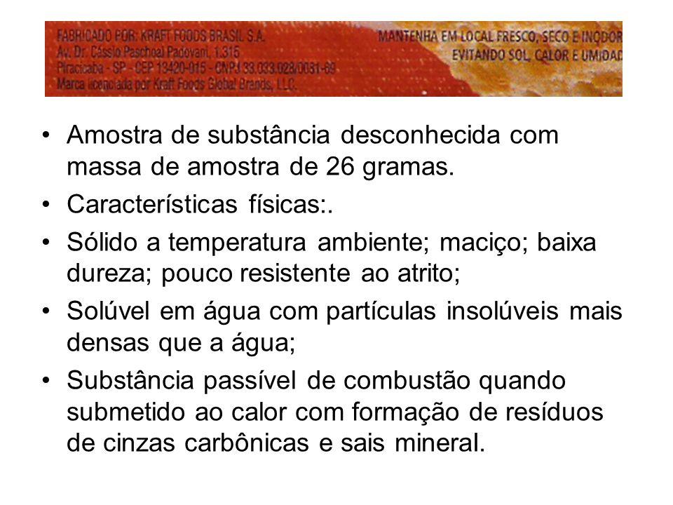 Amostra de substância desconhecida com massa de amostra de 26 gramas. Características físicas:. Sólido a temperatura ambiente; maciço; baixa dureza; p