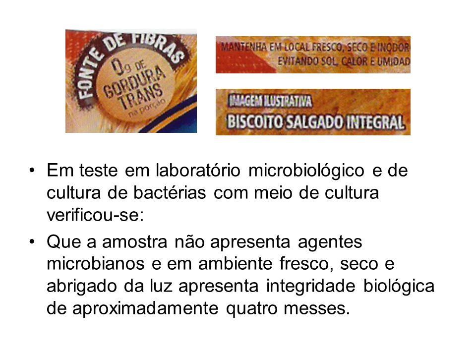 Em teste em laboratório microbiológico e de cultura de bactérias com meio de cultura verificou-se: Que a amostra não apresenta agentes microbianos e e