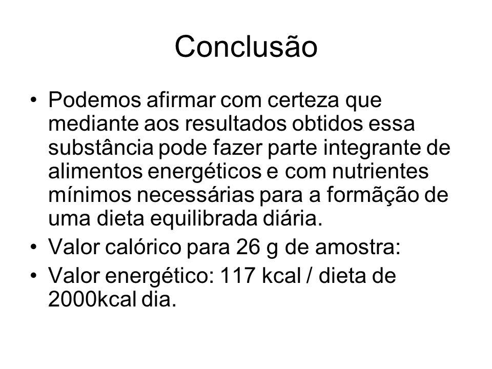Conclusão Podemos afirmar com certeza que mediante aos resultados obtidos essa substância pode fazer parte integrante de alimentos energéticos e com n