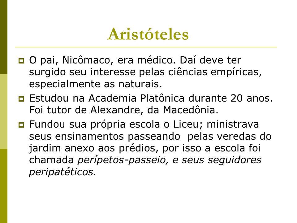 Aristóteles O pai, Nicômaco, era médico.