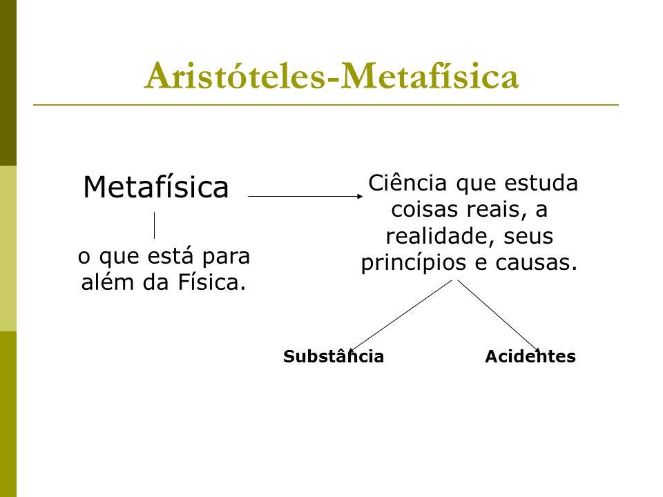 Aristóteles-Metafísica Metafísica o que está para além da Física.