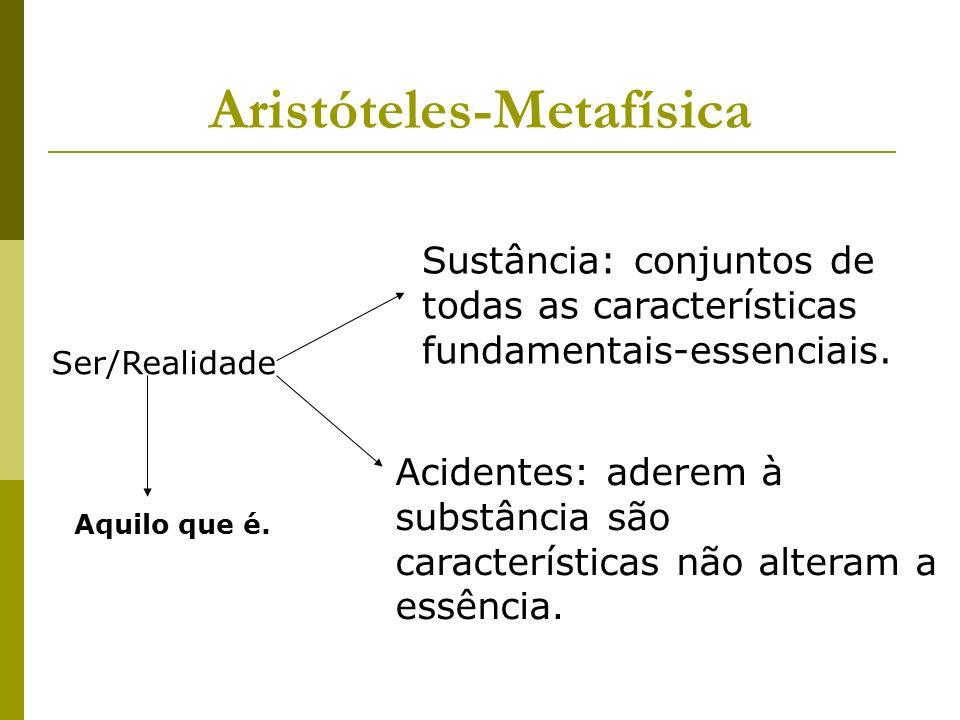 Aristóteles-Metafísica Ser/Realidade Sustância: conjuntos de todas as características fundamentais-essenciais.