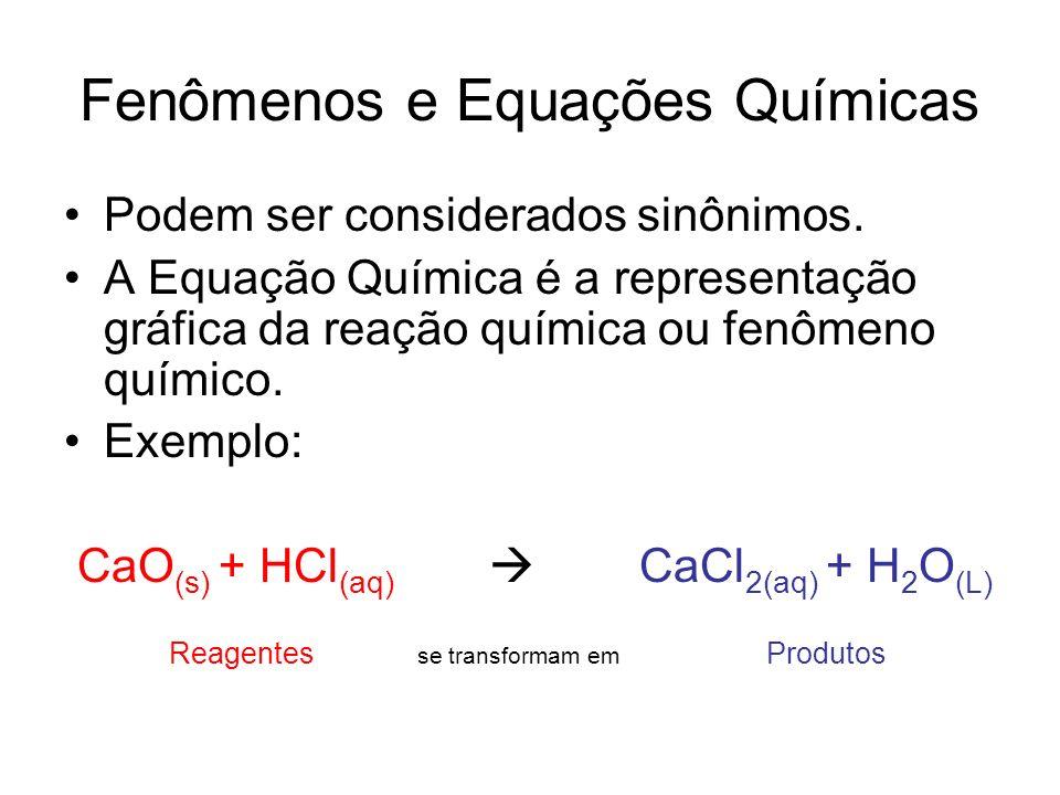 Fenômenos e Equações Químicas Podem ser considerados sinônimos. A Equação Química é a representação gráfica da reação química ou fenômeno químico. Exe