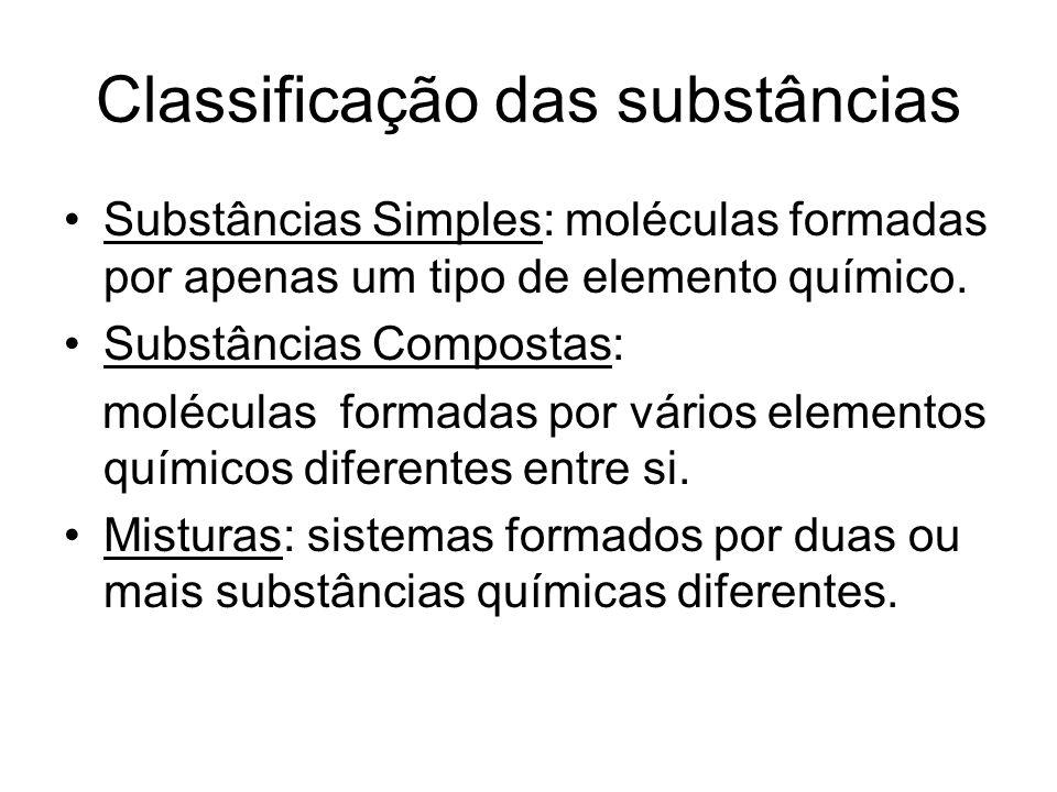 Classificação das substâncias Substâncias Simples: moléculas formadas por apenas um tipo de elemento químico. Substâncias Compostas: moléculas formada