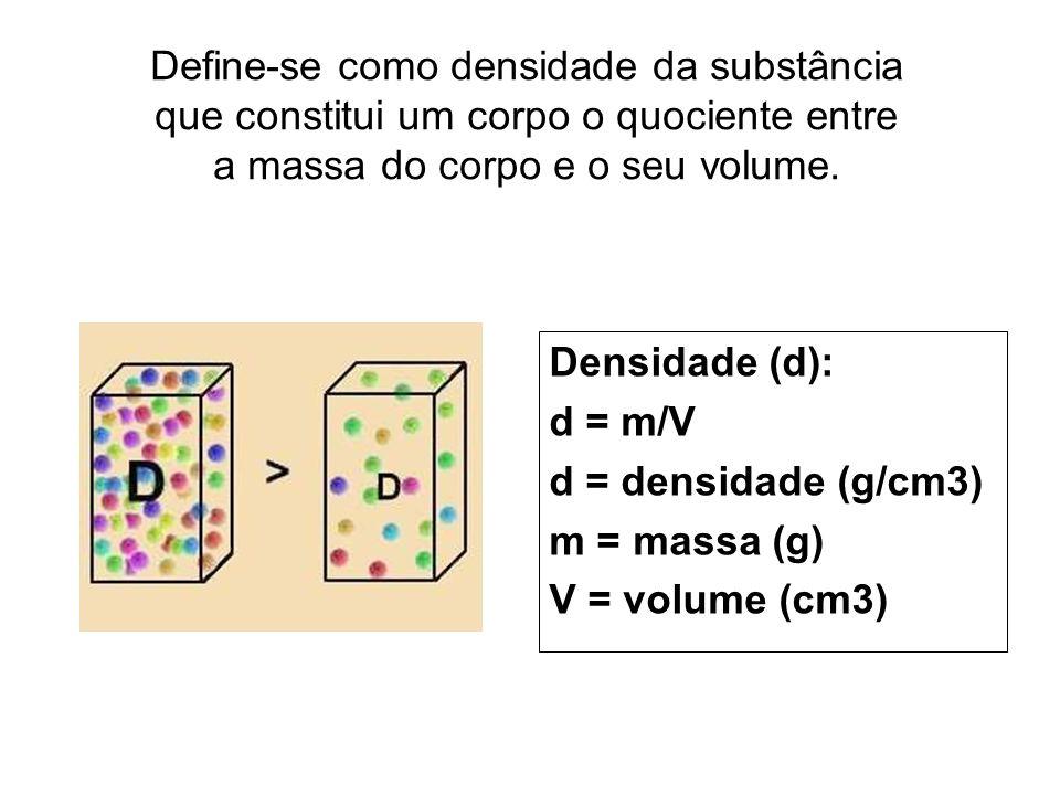 Define-se como densidade da substância que constitui um corpo o quociente entre a massa do corpo e o seu volume. Densidade (d): d = m/V d = densidade