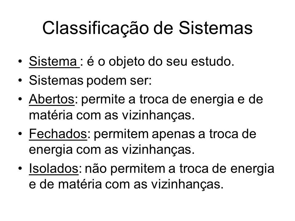 Classificação de Sistemas Sistema : é o objeto do seu estudo. Sistemas podem ser: Abertos: permite a troca de energia e de matéria com as vizinhanças.