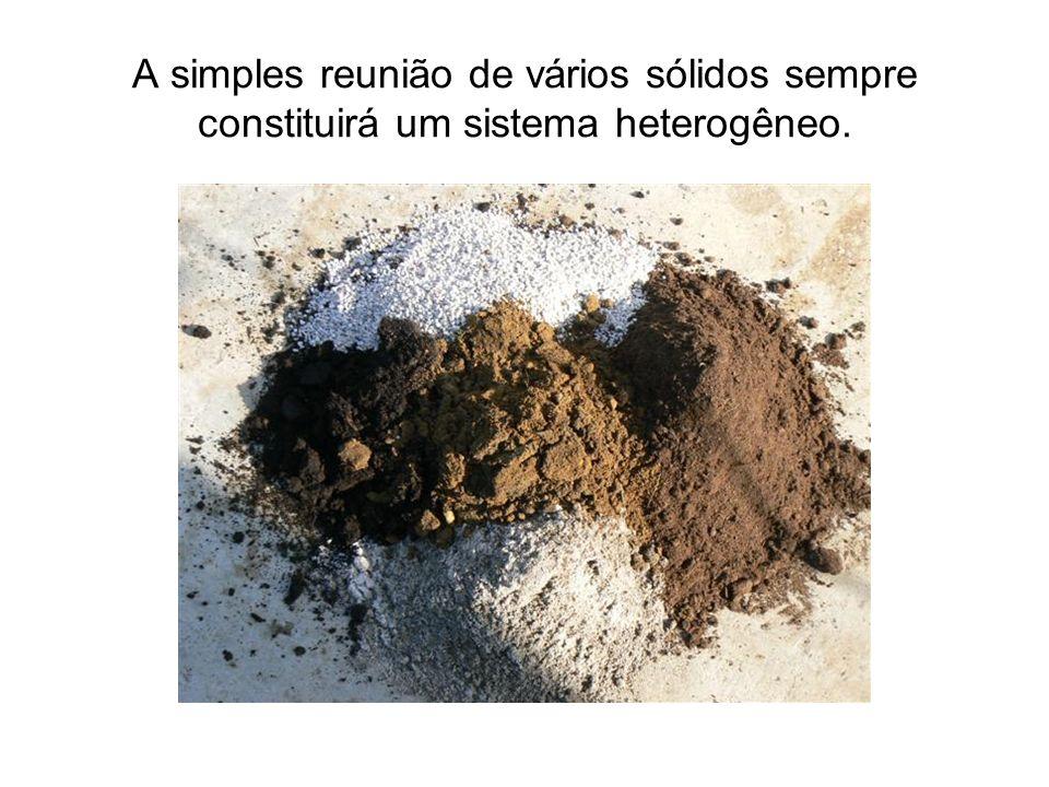 A simples reunião de vários sólidos sempre constituirá um sistema heterogêneo.