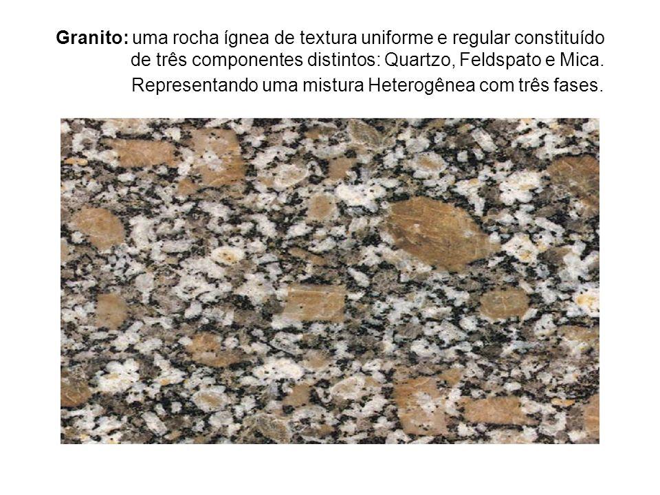 Granito: uma rocha ígnea de textura uniforme e regular constituído de três componentes distintos: Quartzo, Feldspato e Mica. Representando uma mistura