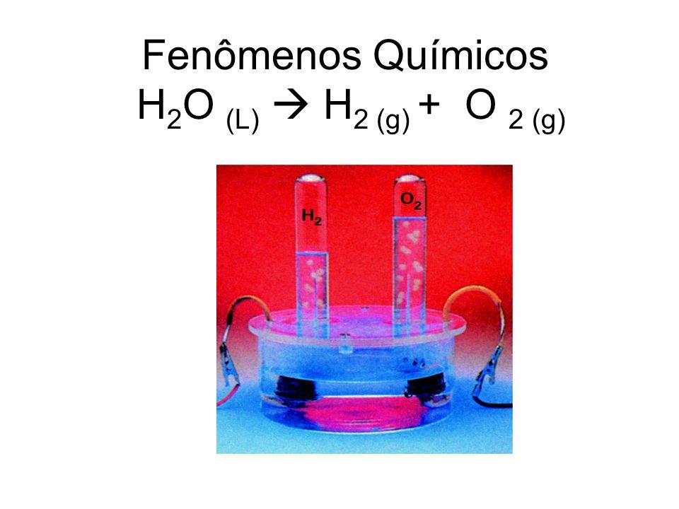 Fenômenos Químicos H 2 O (L) H 2 (g) + O 2 (g)