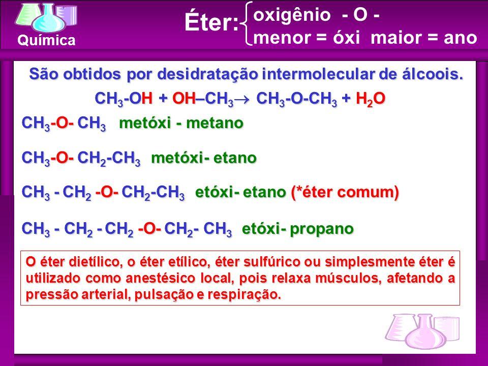 Química CH 3 -O- CH 3 metóxi - metano CH 3 -O- CH 2 -CH 3 metóxi- etano CH 3 - CH 2 -O- CH 2 -CH 3 etóxi- etano (*éter comum) O éter dietílico, o éter