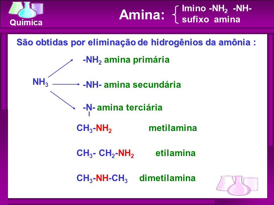 Química NH 3 -NH 2 amina primária -NH- amina secundária -N- amina terciária Amina: Imino -NH 2 -NH- sufixo amina São obtidas por eliminação de hidrogê