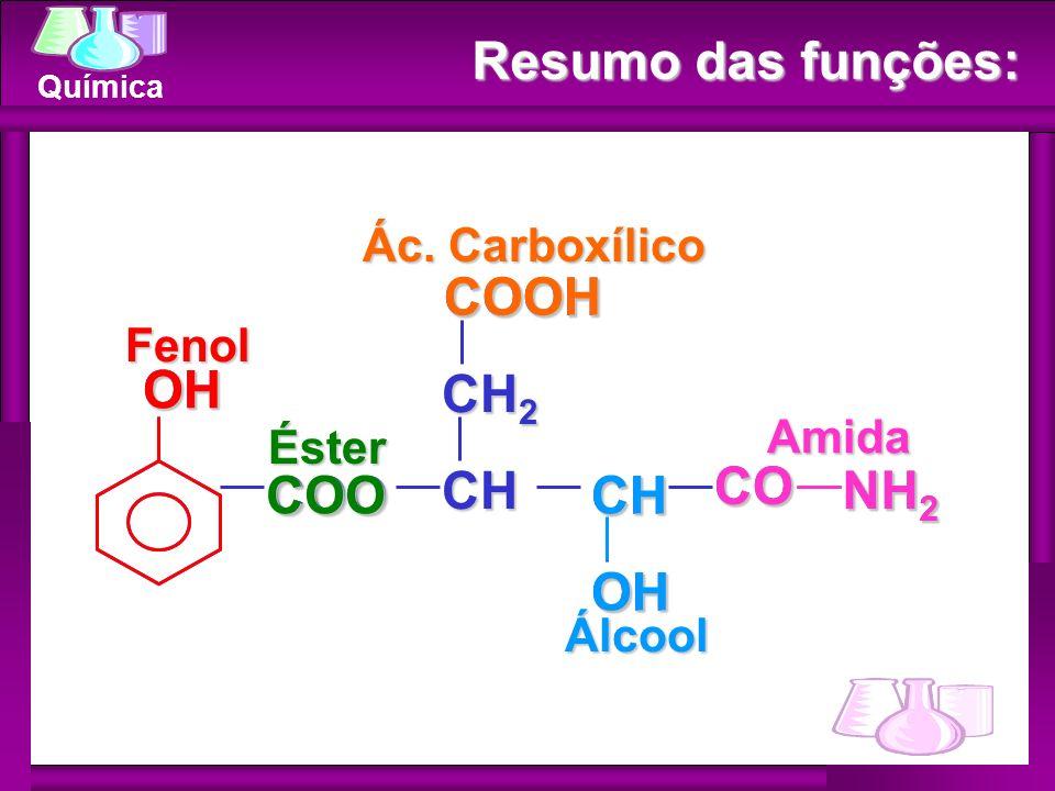 Química Resumo das funções: COOCH OH CH OH NH 2 CO CH 2 COOH OH NH 2 CO CHOH COOH COO Fenol Éster Ác. Carboxílico Álcool Amida