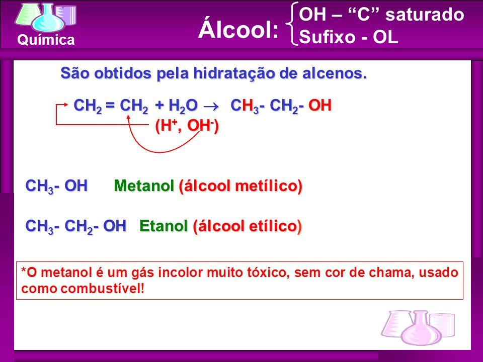 Química Álcool: OH – C saturado Sufixo - OL CH 2 = CH 2 + H 2 O CH 2 = CH 2 + H 2 O São obtidos pela hidratação de alcenos. São obtidos pela hidrataçã