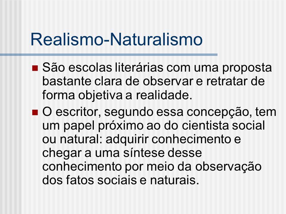 Realismo-Naturalismo São escolas literárias com uma proposta bastante clara de observar e retratar de forma objetiva a realidade. O escritor, segundo