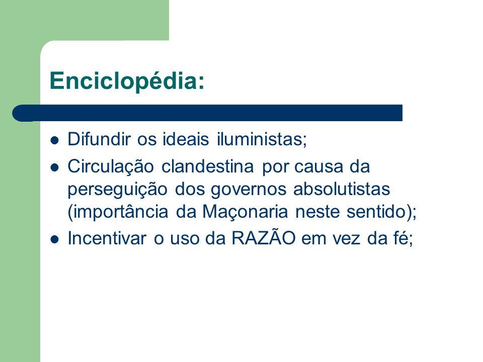Enciclopédia: Difundir os ideais iluministas; Circulação clandestina por causa da perseguição dos governos absolutistas (importância da Maçonaria nest