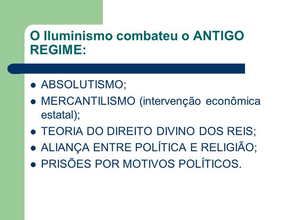 O Iluminismo combateu o ANTIGO REGIME: ABSOLUTISMO; MERCANTILISMO (intervenção econômica estatal); TEORIA DO DIREITO DIVINO DOS REIS; ALIANÇA ENTRE PO