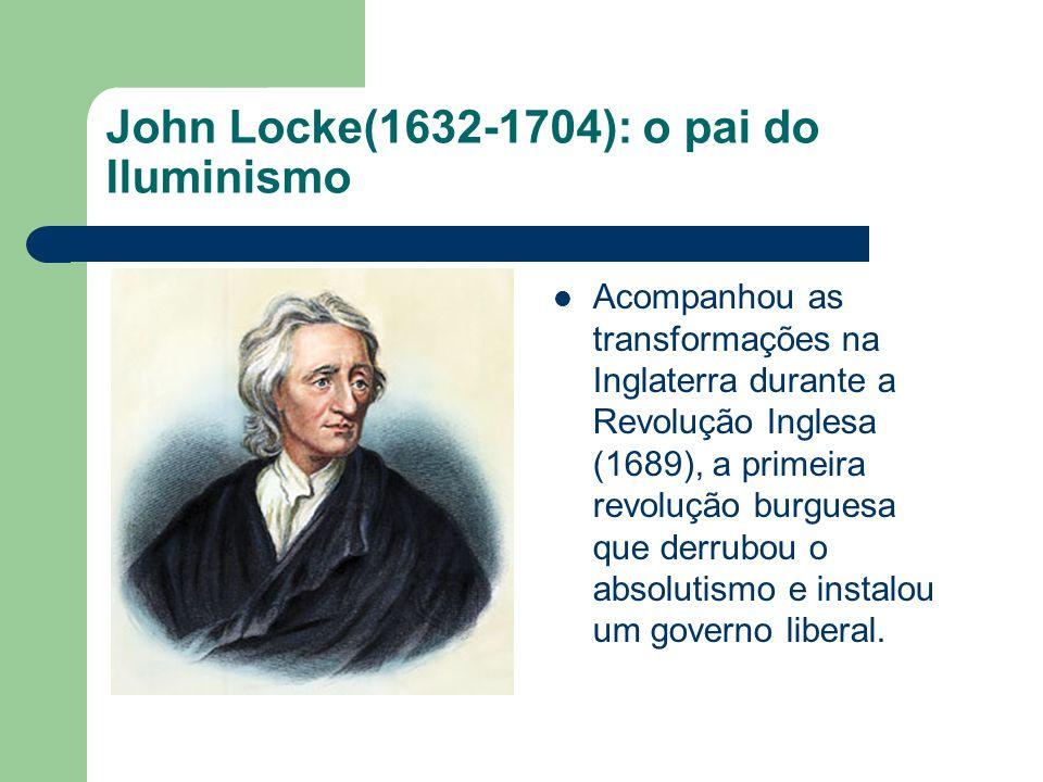 John Locke: o pai do liberalismo Os governados têm todo o direito de se rebelar contra um governo que não os atende; A burguesia precisa estar livre para comandar a economia, sem a intervenção direta do governo; Na Inglaterra, o fato da burguesia ter assumido o comando do Parlamento, levou ao progresso do país, que ainda no século XVIII se industrializou;