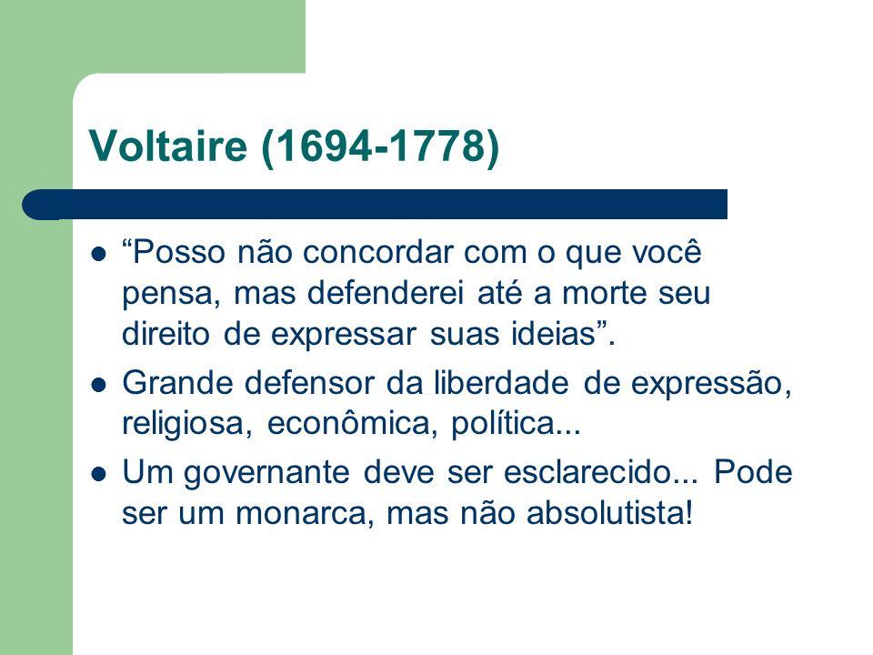 Voltaire (1694-1778) Posso não concordar com o que você pensa, mas defenderei até a morte seu direito de expressar suas ideias. Grande defensor da lib