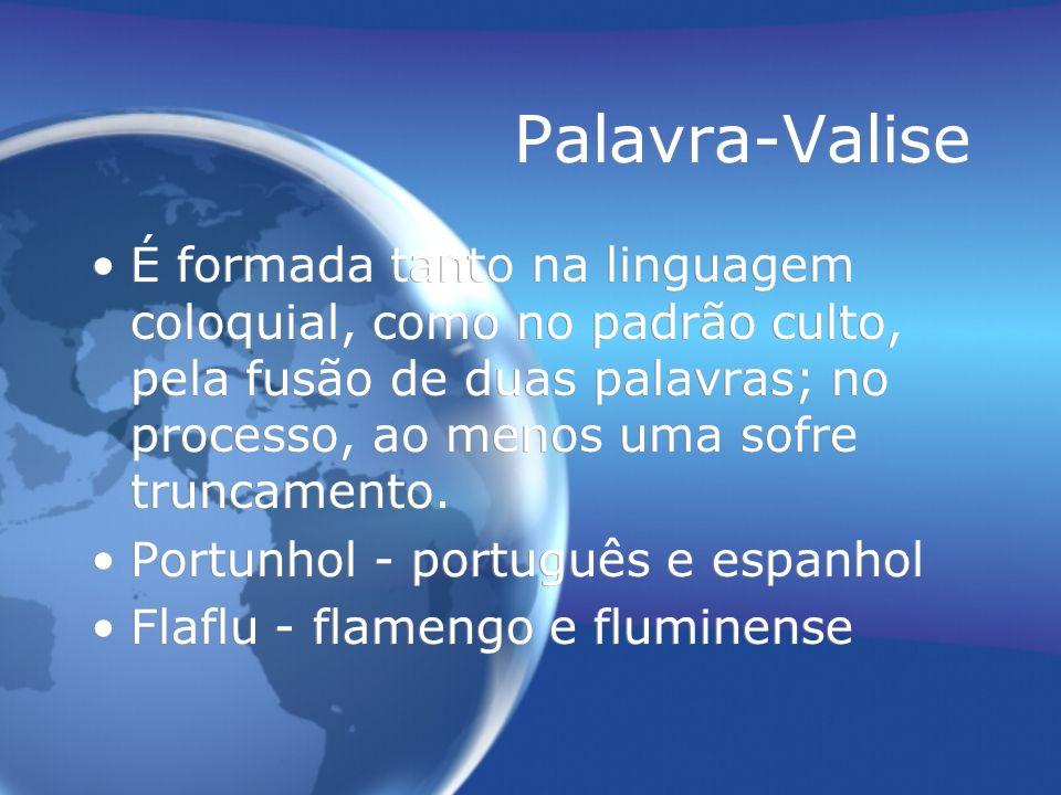 Palavra-Valise É formada tanto na linguagem coloquial, como no padrão culto, pela fusão de duas palavras; no processo, ao menos uma sofre truncamento.