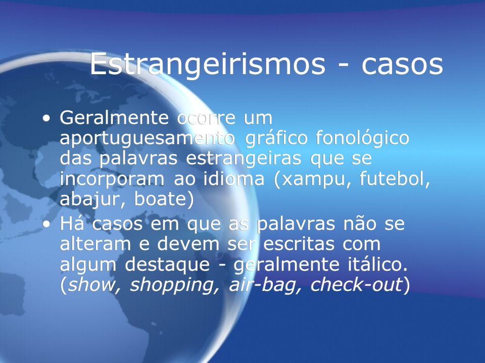 Estrangeirismos - casos Geralmente ocorre um aportuguesamento gráfico fonológico das palavras estrangeiras que se incorporam ao idioma (xampu, futebol