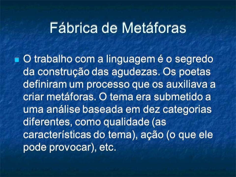 Fábrica de Metáforas O trabalho com a linguagem é o segredo da construção das agudezas. Os poetas definiram um processo que os auxiliava a criar metáf