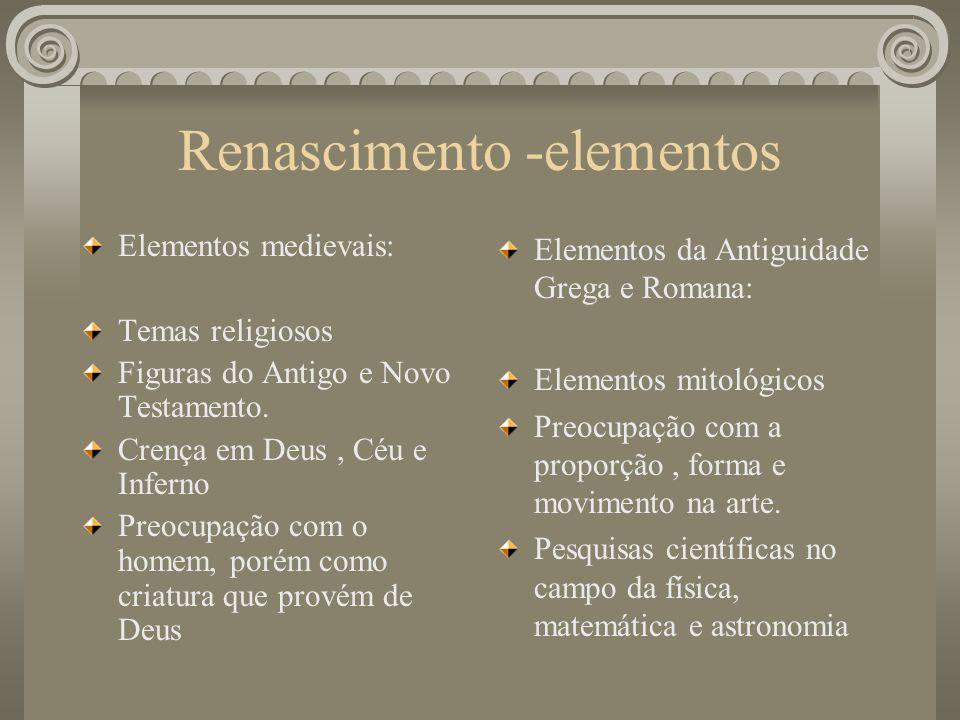 Renascimento -elementos Elementos medievais: Temas religiosos Figuras do Antigo e Novo Testamento. Crença em Deus, Céu e Inferno Preocupação com o hom