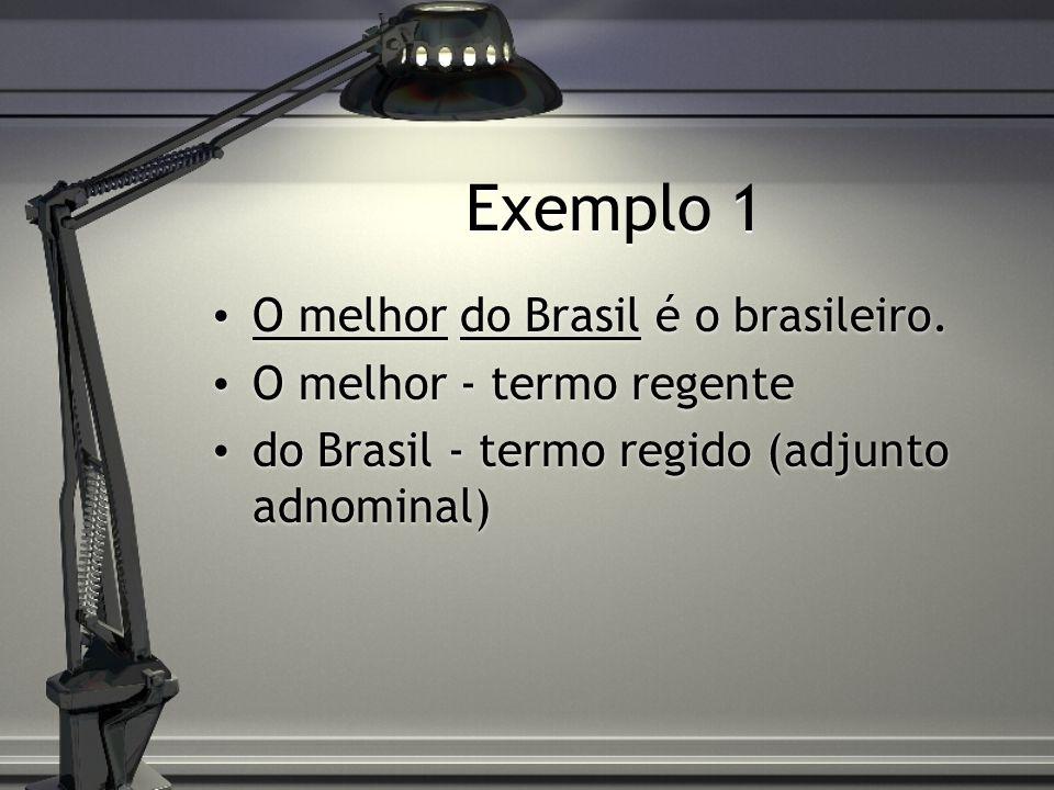 Exemplo 1 O melhor do Brasil é o brasileiro. O melhor - termo regente do Brasil - termo regido (adjunto adnominal) O melhor do Brasil é o brasileiro.