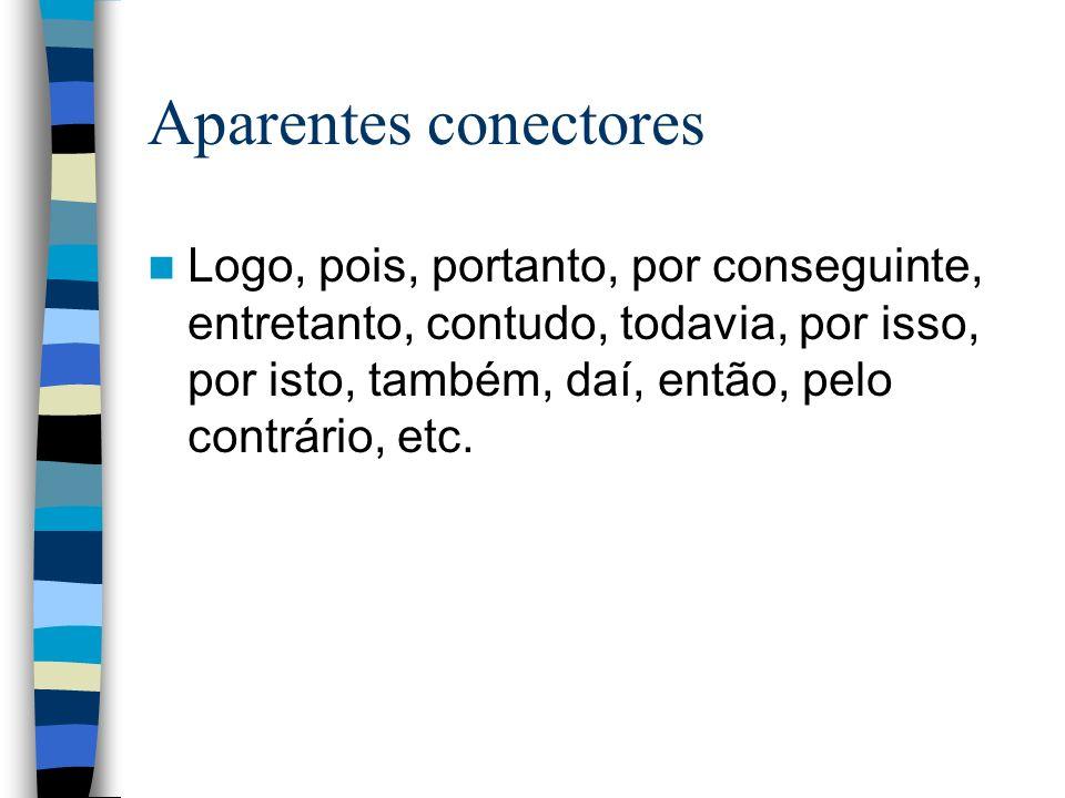 Aparentes conectores Logo, pois, portanto, por conseguinte, entretanto, contudo, todavia, por isso, por isto, também, daí, então, pelo contrário, etc.