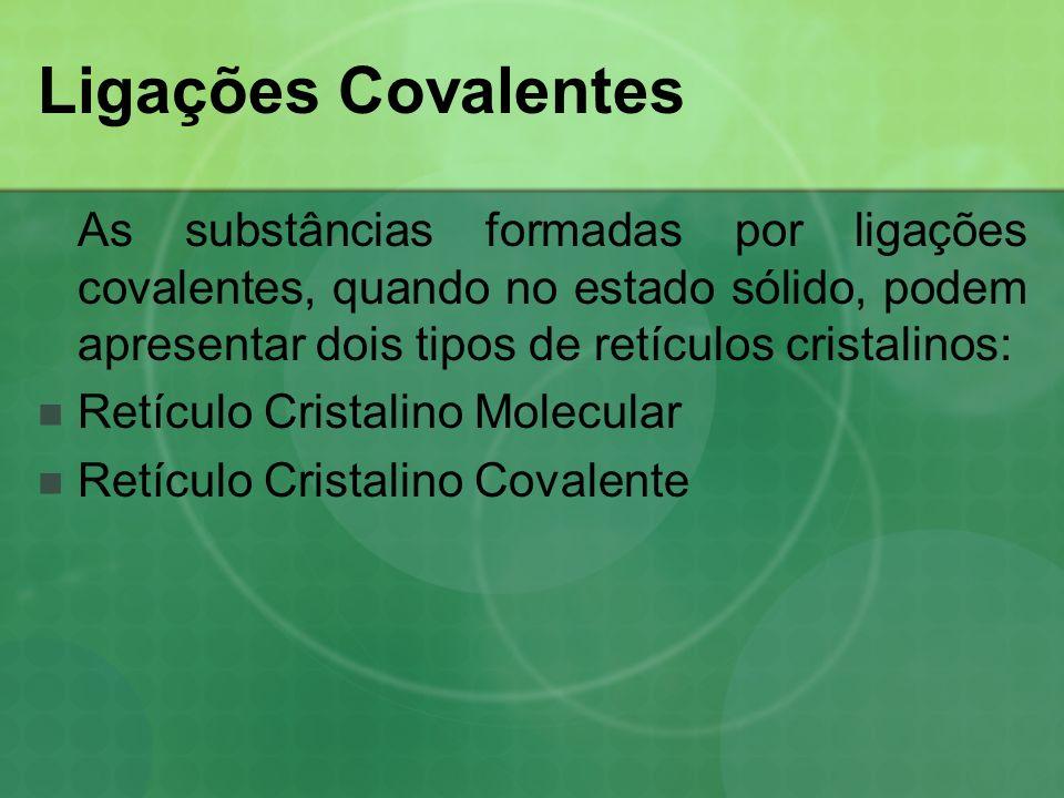 Retículo Cristalino Molecular Nesse retículo ocorrem interações entre as moléculas que as mantêm unidas.