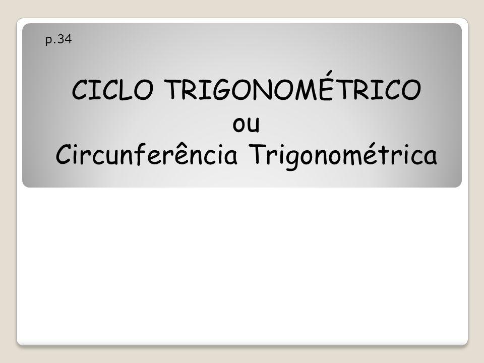 CICLO TRIGONOMÉTRICO ou Circunferência Trigonométrica p.34
