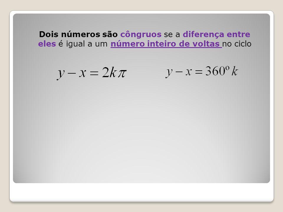 Dois números são côngruos se a diferença entre eles é igual a um número inteiro de voltas no ciclo